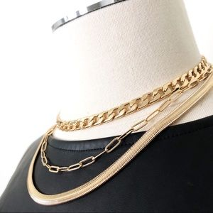 """New HOUSE OF HARLOW 1960 Multi Gold Chunky Chain Necklace 14"""" + 4"""" Layered"""
